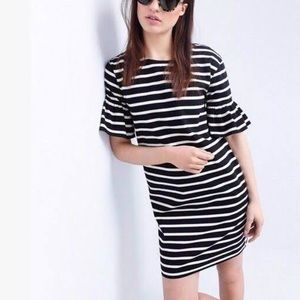 J. Crew Stripe Cotton Bell Sleeve Shift Dress